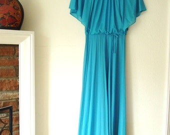 Vintage 70's Ocean Blue Flowing Knit Maxi Dress