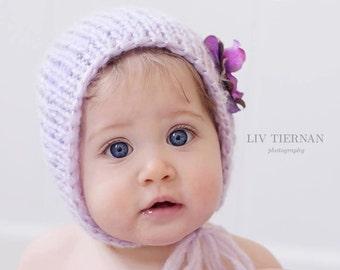 6-12 mos bonnet - 'AMETHYST' Whisper bonnet - Knit baby bonnet - photo prop - knitbysarah - Stitches by Sarah