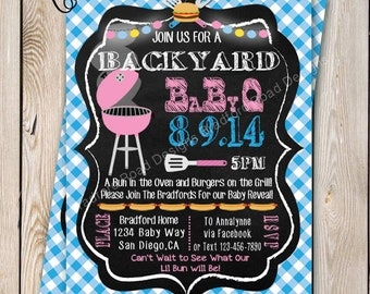 Baby Q Baby Gender Reveal Party Invitation BBQ Invitation Backyard BBQ Bun in the Oven & Burgers on the Grill Gender Reveal Printable 5x7