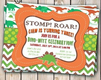 Dinosaur Invitation Dinosaur Birthday Party Dino Dig Dino-mite Birthday Invitation Customizable 5x7