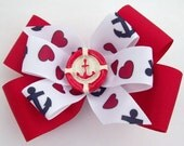 Anchor Boutique Hair Bow - Nautical Hair Bow - Red hair bow
