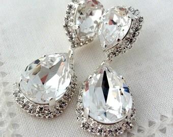 White clear crystal Chandelier earrings, Bridal earrings, Dangle earrings, Drop earrings,  Swarovski rhinestones earrings, silver or gold