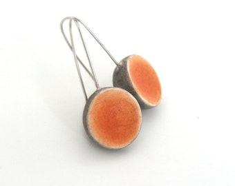 Pumpkin orange grey small clay  earrings, dome, round minimal, air dry clay, organic, geometry, sterling silver, Halloween, Thanksgiving