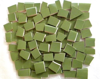 OLIVE Green - Solid Color Mosaic Tiles - Recycled Plates - 50 Tiles