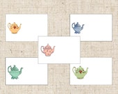 Teapot Place Cards,  Set of 10, Teapot Table Card,  Tented Teapot Place Cards, Tea Event, Bridal Shower, Tea Placecards, Wedding Table Cards