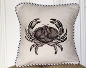 "shabby chic, feed sack, french country, vintage crab graphic with french ticking welting 14"" x 14"" pillow sham."