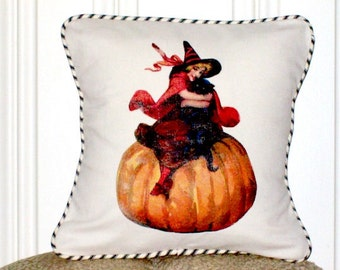 "shabby chic, feed sack, french country, vintage Halloween Little Witch with french ticking stripe welting 14"" x 14"" pillow sham."