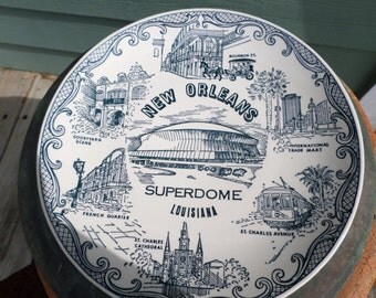 Vintage New Orleans Fine American Ironstone Plate Super Dome Spin Original New Orleans History 10 in.Louisiana