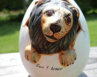 "Vintage Egg Art / Hand Crafted / Lion / Egg Art / Art / Perer Y Antdnino / 5"" X 4"" / Unique / Home Decor"