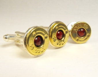 Bullet cufflinks brass and red paua shell cufflinks and pin 45 Colt