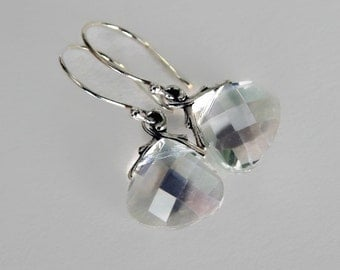 Crystal Sterling Silver Dangle Earrings, Wedding Jewelry, Petite Crystal Drop Earrings