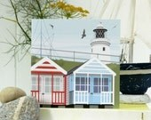 Stripey Beach Huts Card - Blank, British Seaside