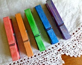 Wooden Farmhouse Clothes Pin Clothespin Refrigerator Memo Board Magnets - Rainbow Colors Set of 5