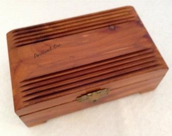 Vintage Portland OR Cedar Souvenir Trinket  Box