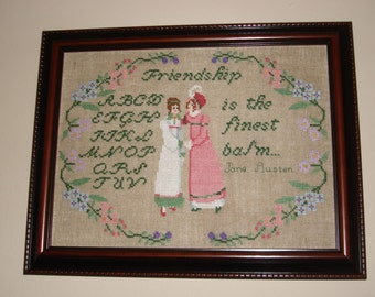Friendships' Balm/ Jane Austen Cross Stitch Sampler