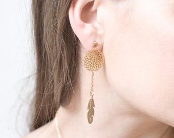 Dream Catcher Earrings for Women - Gold Feather Earrings - Long Feather Earrings - Dangle Earrings - Feather Jewelry - Dangling Jewelry