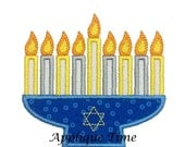 Instant Download Menorah Candle Machine Embroidery Applique Design 4x4, 5x7 and 6x10