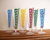 Greek Key Pilsner Glasses or Champagne Flutes, Multi Colored, Retro Chic