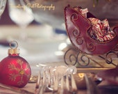 Christmas photography home decor lights holiday dining table gold red ivory silver glitter bokeh sleigh ornament fine art photo wall art