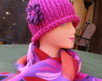 Handmade Knitted Hat w/ Handmade Fleece Scarf, Matching Set, Pinks, Purples, Red & Orange