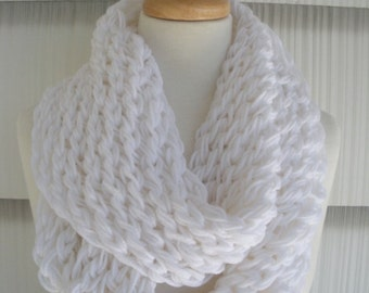 Hand Knitted Scarf Womens Scarf Cowl Fashion Accessories Women Infinity Scarf in White by creationsbyellyn