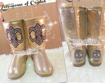 PROMOTION WINTER Golden Metallic Sheepskin Fleech/Wool Boots with Cross made with Swarovski / Czech elements