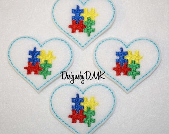 Autism Awareness Puzzle Heart Felt Embroidered Embellishment Clippie Cover SET of 4 - Multiple Sets Available