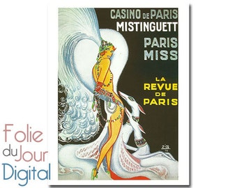 Digital printable art French Mistinguett La Revue de Paris cabaret dog advertising advertisement - Instant Download