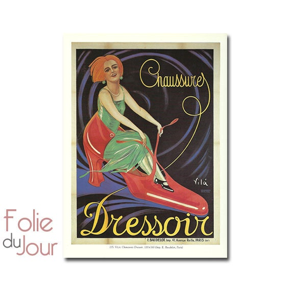 Vintage French SHOES, CLOTHES Advertisement advertising poster - 1930s
