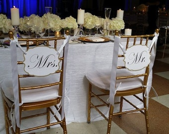 Mr & Mrs Wedding Chair Signs, Wedding Reception Chair signs,