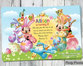 Mickey Mouse Easter Invitation: for kids birthday or Easter egg hunt party, printable file with mickey, minnie, pluto, donald and daisy duck