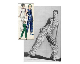 60s Mod Jumpsuit and Blouse Vintage Vogue Sewing Pattern Vogue 6446 Sleeveless Jumpsuit Bust 32