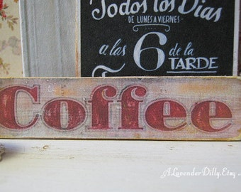 Antiqued Coffee Sign for Dollhouse