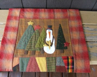 Primitive Wool Crazy Quilt Snowman Applique