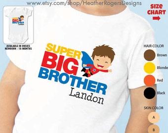 Superhero Big Brother Shirt - Personalized Big Brother Superhero Shirt or Bodysuit