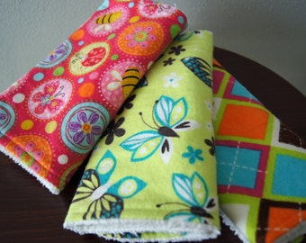 Bright Playful Burp Cloths - Baby Girl Burpies - Summer Baby Gift - Butterflies & Diamonds - Baby Shower Gift - CLEARANCE