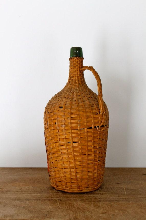 Vintage portuguese green glass wine bottle encased in a straw for Green glass wine bottles