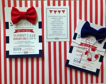 Ahoy it's a boy baby shower invitation with felt bowtie