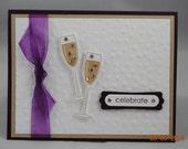 Handcrafted Champagne Glasses Celebrate Anniversary Card/Invitation