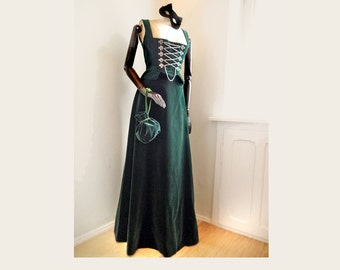 Vintage Historical Costume LUXURIOS three piece Green VELVET Dirndl fantasy medieval victorian renaissance wedding Corsage maxi skirt Purse