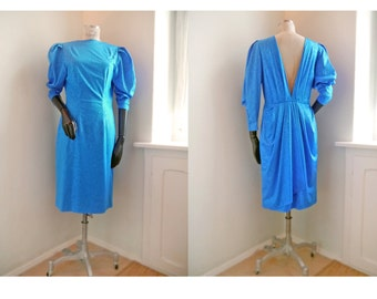 Vintage Dress Party 80s 90s Royal blue, with deep V cut out back Sparkling glitter Glamour coctail New years  Size Medium