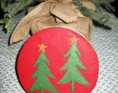 Evergreen Tree Holiday Cookie/Candy Tin with Rustic Star
