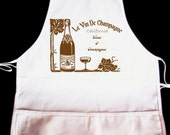 California Wines and ChampagnesFrench Vintage Collage Illustration Apron -- Fully adjustable, mid length