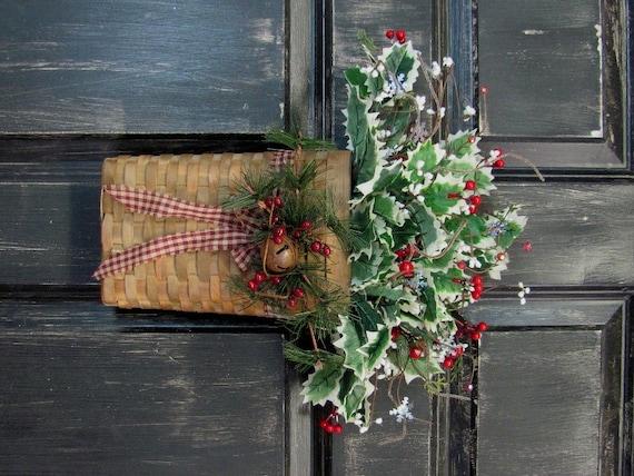Christmas Wreath Sale Holly Christmas Wall Basket By