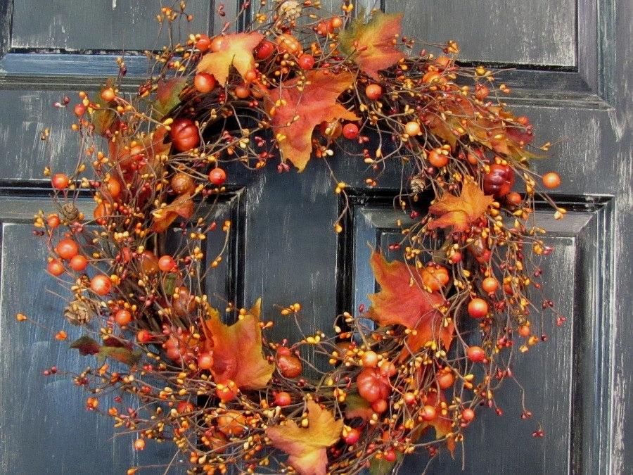 Sale thanksgiving wreath l rustic door decor pumpkin - Thanksgiving decorations on sale ...