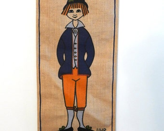Vintage Textile, Ingrid Uhr of Sweden, Boy in Folk Clothing