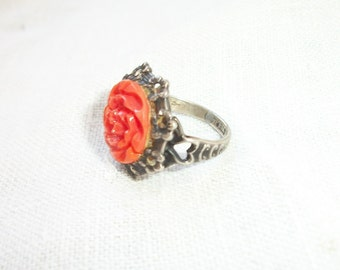 Vintage Celluloid Coral Carved ~ Heart Sides ~ Ring Beautiful Flowers OLD Sterling silver ~ Pinkie Ring