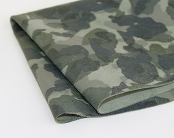 Army Camouflage Print Genuine Leather ,Army Green Olive Green