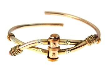 Tri-color Gold Victorian Clamper Cuff Bracelet