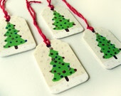 wood christmas tree gift tags - set of 4